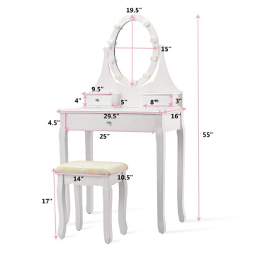 White simple Mirrored dressing table