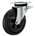 8 Inch Plate Swivel Black Rubber PP Core With Bracket Dustbin Wheel