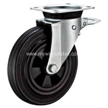 6 Inch Plate Swivel Black Rubber PP Core With Bracket Dustbin Wheel