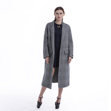 Fashionable straight plaid cashmere coat