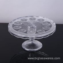 Wholesale Wedding Decorative Embossed Glass Cake Plate