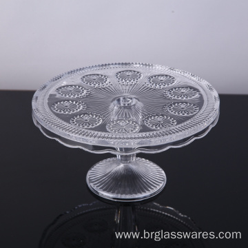 Customized for Glass Cake Stand Wholesale Wedding Decorative Embossed Glass Cake Plate supply to Qatar Manufacturers