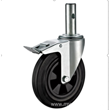 80mm European industrial rubber caster with brake