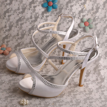 White Wedding Bridal Sandals