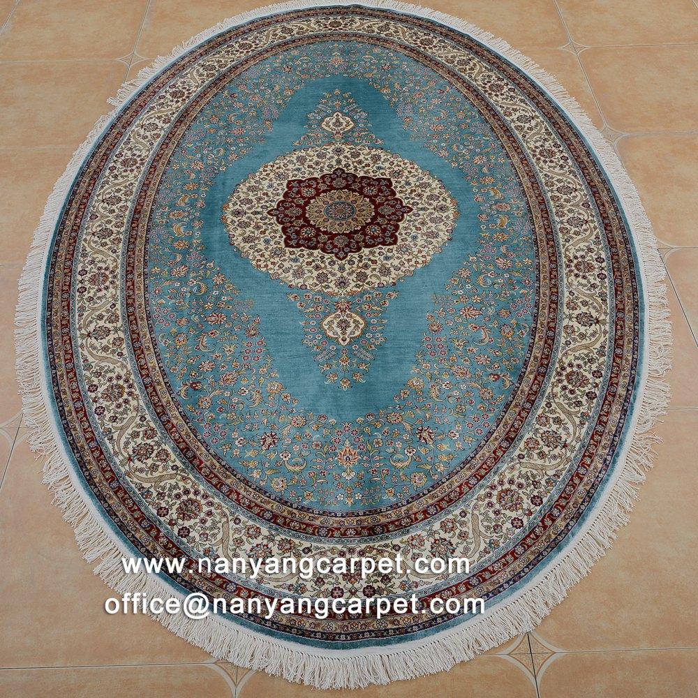 Oval Blue silk carpet