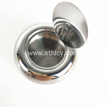 Round Table Type Stainless Steel Ashtray With Lid