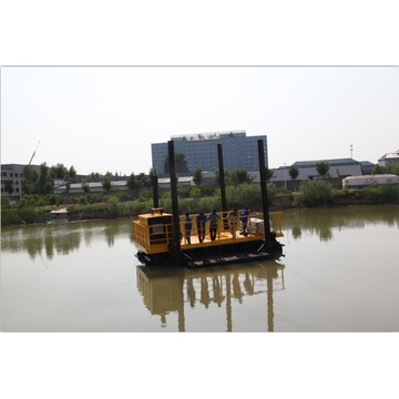 Amphibious excavators with side pontoons