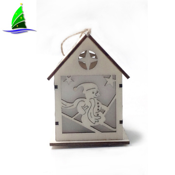 Wooden  LED Lighted House Hanging Ornaments