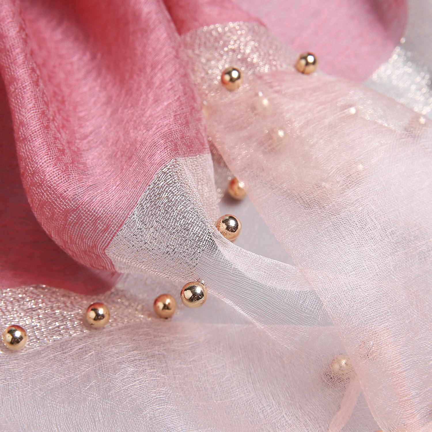 Hand-made silk wool scarves inlaid with pearls (9)
