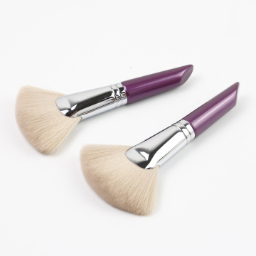 Charming purple short handle fan brush for makeup