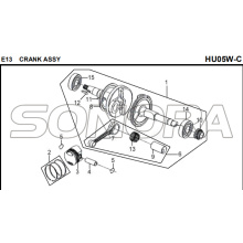 E13 CRANK ASSY for HU05W-C MIO 50 Spare Part Top Quality