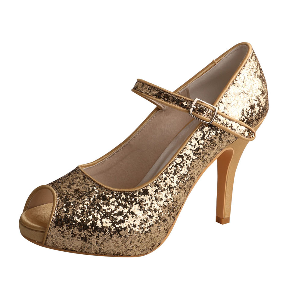 Gold Glitter Evening Shoes