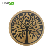 Tea & Drink Round Bamboo Coaster Set