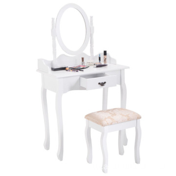 White finished modern wooden dressing table with mirror
