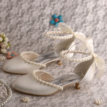 Off white Bridal Kitten Heels with Pearl Strap