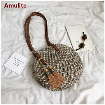Round Summer Straw Large Woven Shoulder Bag Handbag