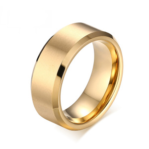 Wholesale mens gold tungsten wedding bands