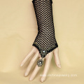 Black Mesh Elastic Lace Hand Bracelet With Alloy Ring Set