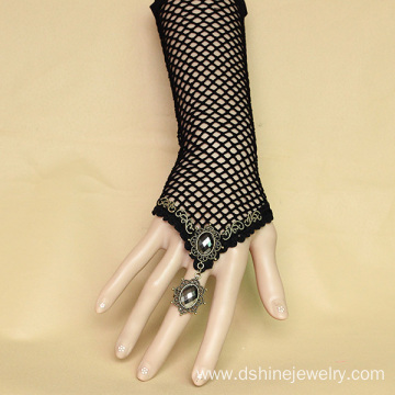 Hot New Products for Flower Lace Bracelet Black Mesh Elastic Lace Hand Bracelet With Alloy Ring Set export to Central African Republic Factory
