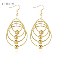 Gold Plated Long Multi Big Circle Earrings