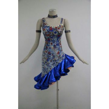 Blue latin dresses for girls