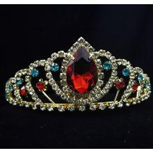 Factory Outlets for Hair Accessories for Weddings Big Red Stone Birthday Crown Tiaras For Children export to Croatia (local name: Hrvatska) Factory