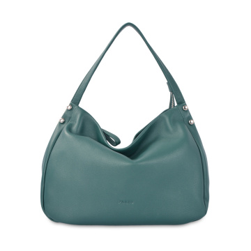 Lady Casual Pure Color Leather Plain Hobo Bag