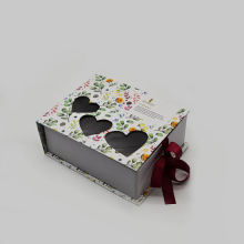 Luxury Ribbon Closure Die Cut Heart Paper Box
