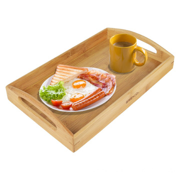 OEM/ODM for Wooden Food Trays Rectangle Bamboo Butler Serving Tray With Handles for home export to Costa Rica Wholesale