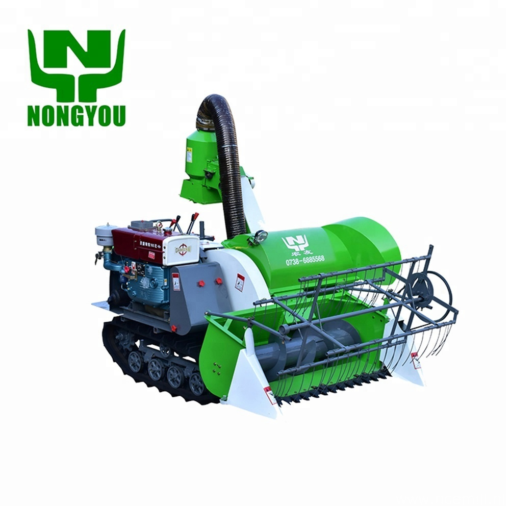 Mini crawler-type double cutter combine harvester for sale