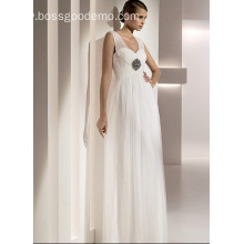 Empire Sheath Column Sweetheart Straps Floor-length Tulle Beading Draped Wedding Dress