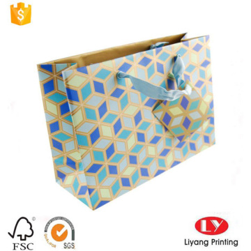 Paper shopping bag with ribbon handle