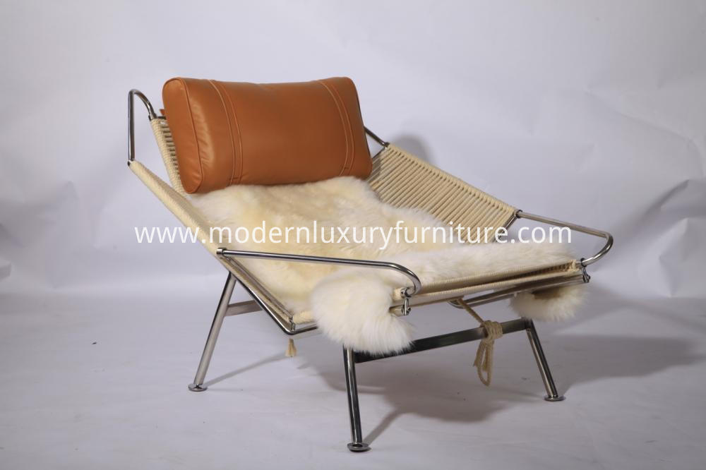 Leather Lounge Chair With Sheep Skin
