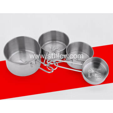 Four Piece Set Stainless Steel Baking Measuring Cups
