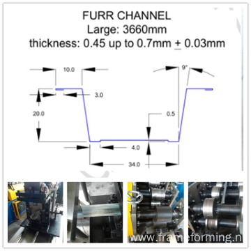 Hat Furring Channel Roll Forming Machine