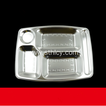 Stainless Steel Retangular 5/6 Compartment Dinner Tray