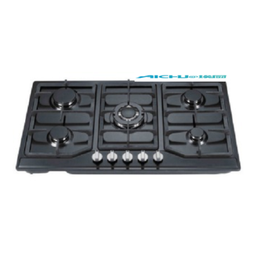 5 Burners Tempered Glass Black Homeused Gas Hob