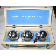 Three Balls Bocce Petanque In Wooden Case
