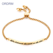 Custom Engraved Inspirational Word Bar Bracelet