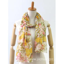 Latest coloured long light printing fashion ladies amice