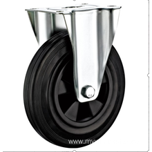 100  mm  European industrial rubber rigird  casters without  brakes