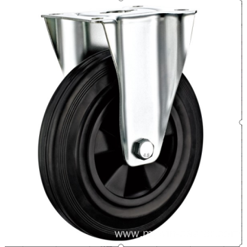 80mm European industrial rubber  rigid caster without brake