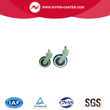 Medical caster, Nylon yoke caster with TPR wheel PP center, ball bearing