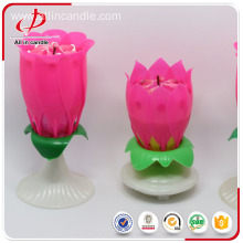 Unique rotating music pink lotus flower candle