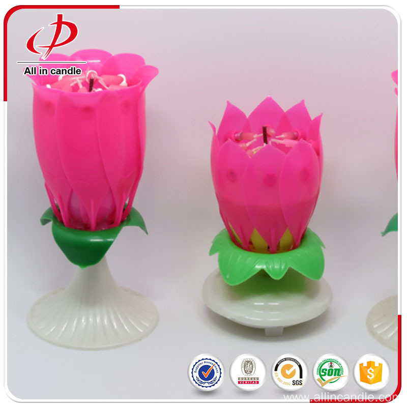 Loved rotating lotus flower music birthday candle
