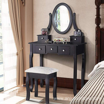Black Vanity Table with Oval Mirror/ 5 Drawers Makeup Table with Mirror Wood Dressing Table w/Cushioned Stool