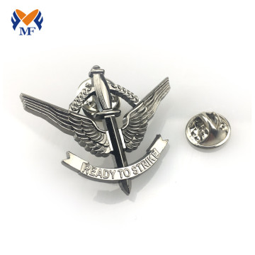 Silver custom metal pilot wing pin badge