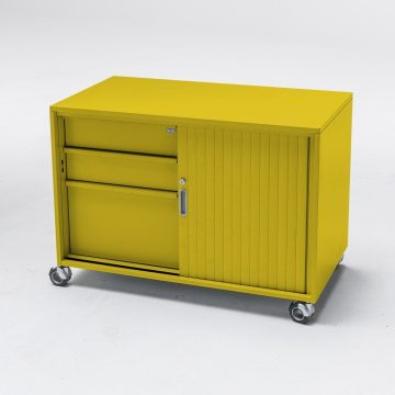 Mobile caddy with drawers and sliding door