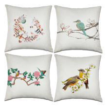 Set of Birds Flower Throw Pillow Covers Chinese Ink Painting Spring Decorative Cushion Cover Pillow Case for Sofa Bedroom Car Co