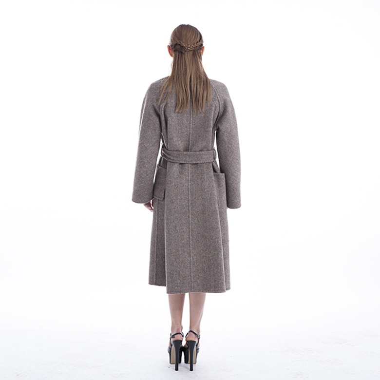 Winter women's cashmere coat with belt